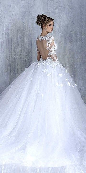 Backless Wedding Dress With Sheer Lace Applique Sleeves And