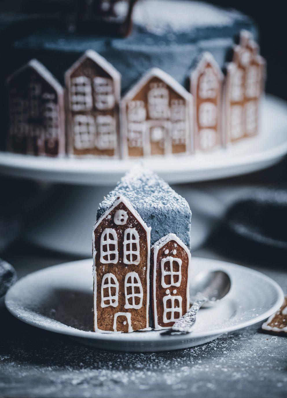 Gingerbread Village Cake Brunch De Noel Idee Gateau Et Recette Gateau