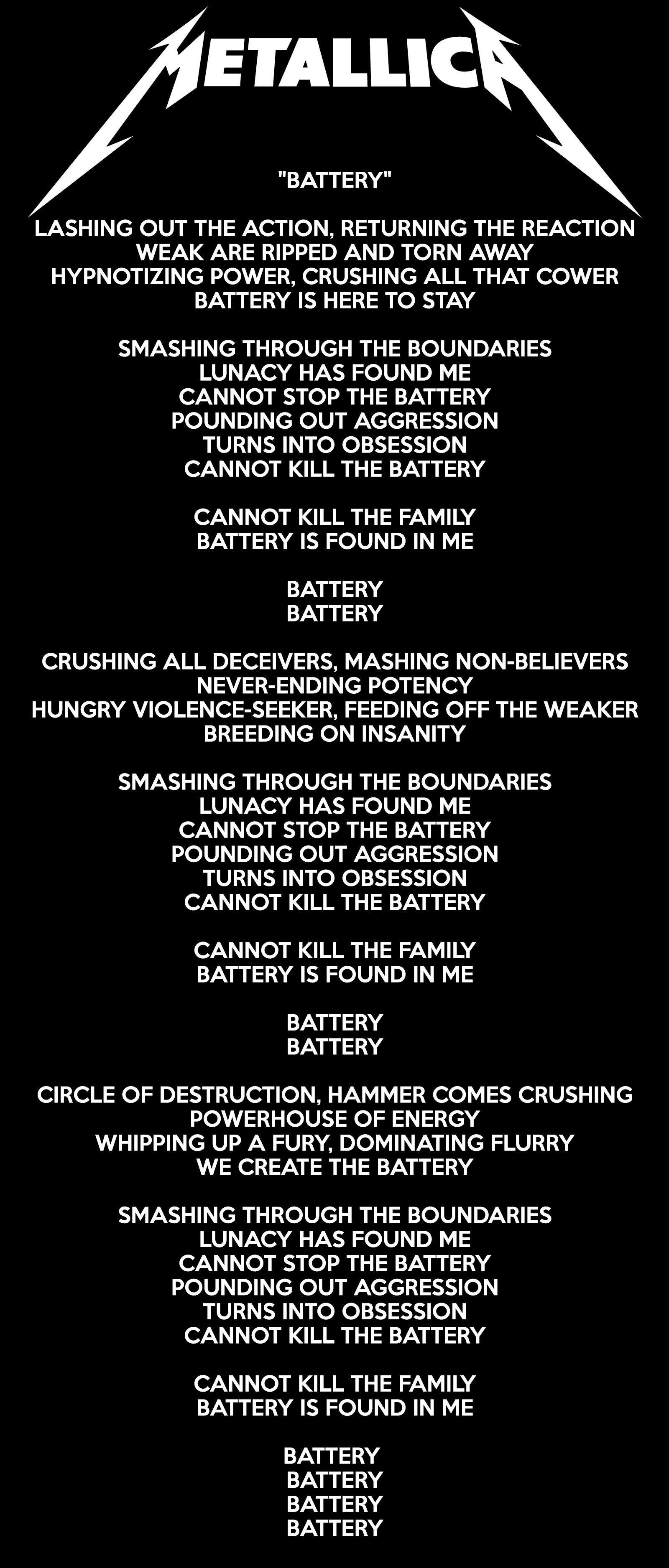 Metallica - Battery Lyrics | Metallica quotes, Metallica