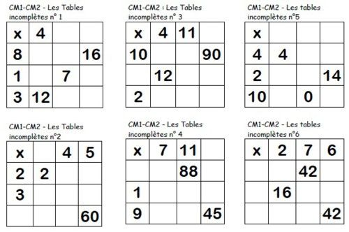Les tables multiplicatives incompl tes cm fichiers pdf for Table de multiplication jeux ce2