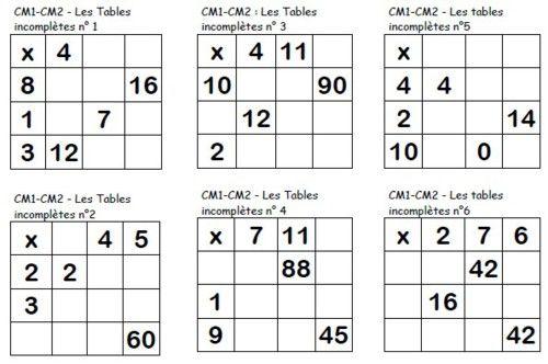 Les tables multiplicatives incompl tes cm table de - Tables de multiplication cm2 ...