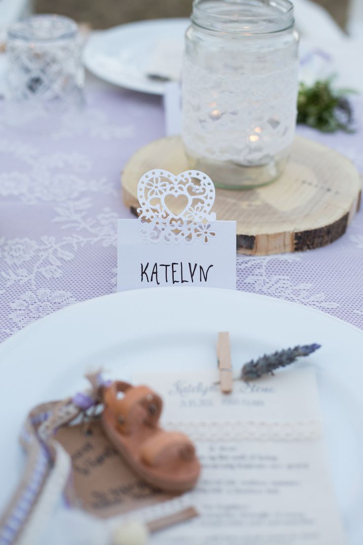 table setting decorations of jam jars wooden plates and a favour of a greek sandal & table setting decorations of jam jars wooden plates and a favour of ...
