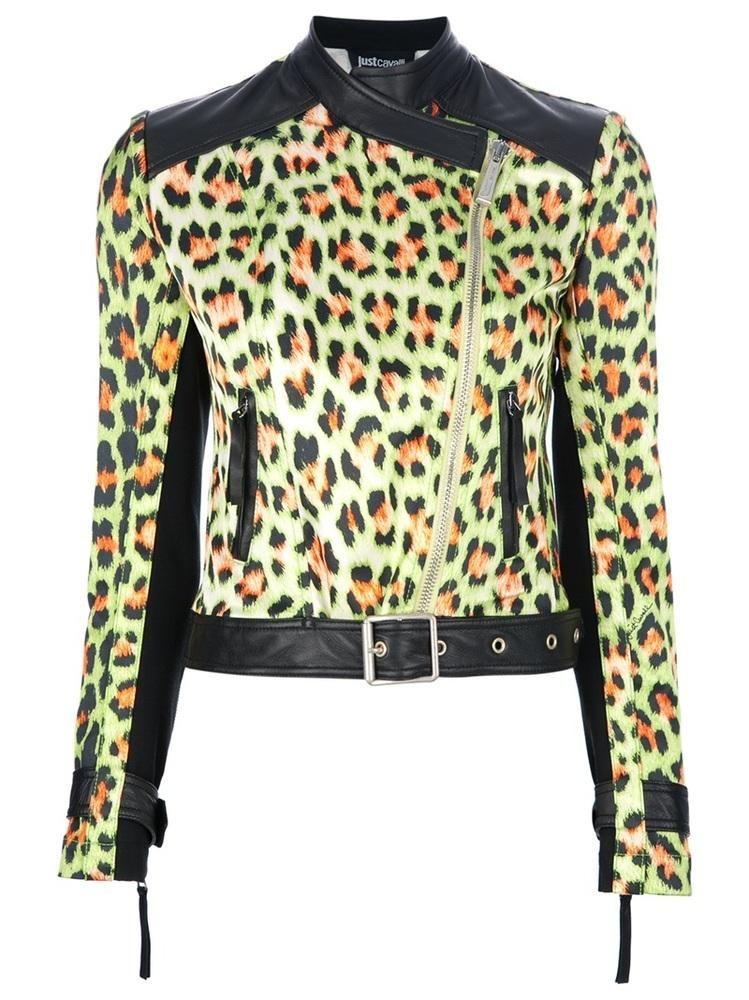 JUST CAVALLI patent leather leopard print biker jacket - rock chic