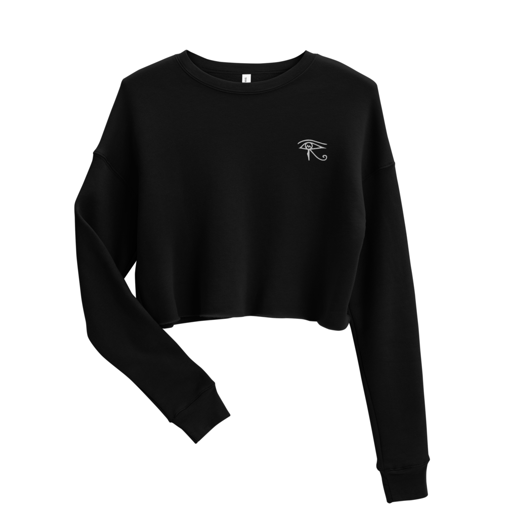 A fall favorite, our Essential Crop Sweater is comfortable and will help you stand out for your next autumn getaway. Product Details • 52% airlume combed and ring-spun cotton, 48% poly fleece • Cropped body with a raw hem • Ribbed crew neckline and cuffs • Dropped shoulder • Side-seamed