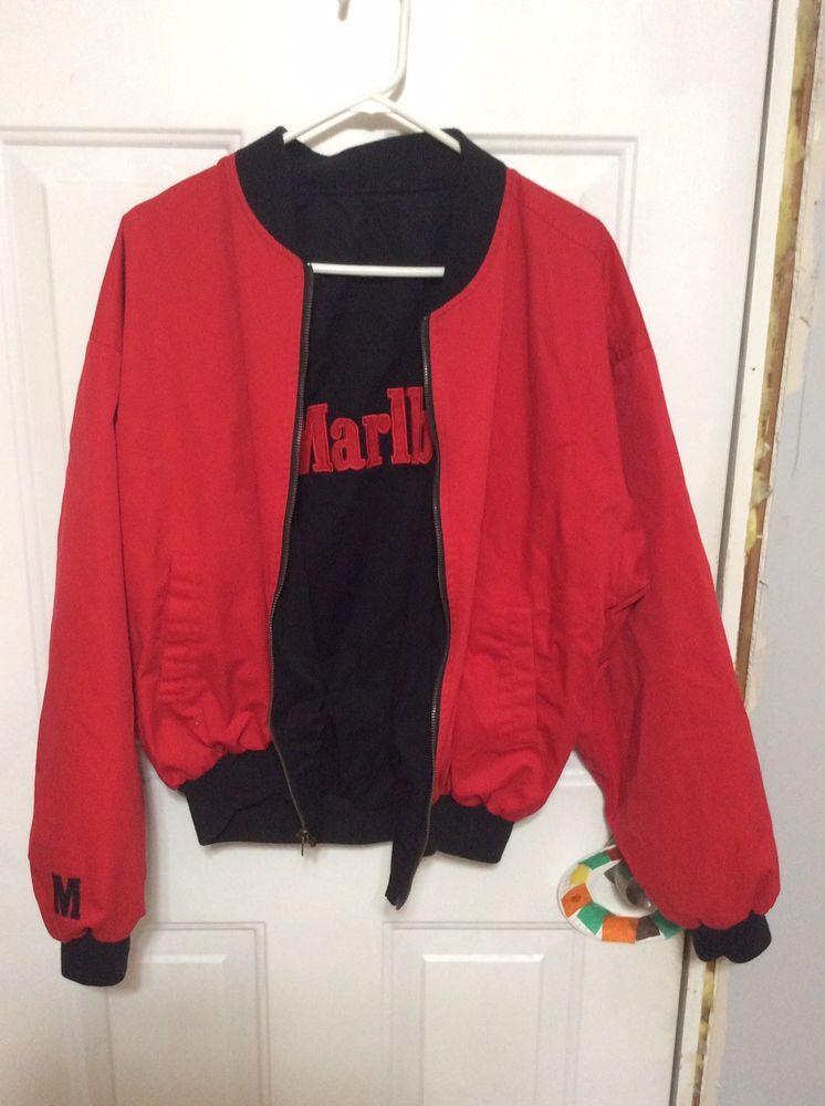 Vintage Marlboro Reversible Jacket Full Zipper Red Black Sz Large Euc Fashion Clothing Shoes Accessories Mensclot Jackets Reversible Jackets Black And Red