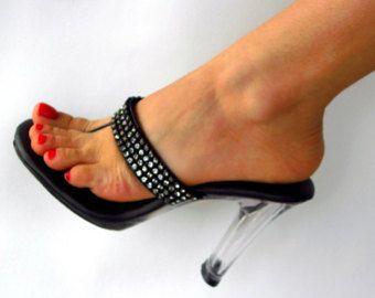 fedb734eff4 Items similar to VIP 5 inch Handmade Heart Rhinestone Pink Leather Thin  Thong Foot Fetish Mule
