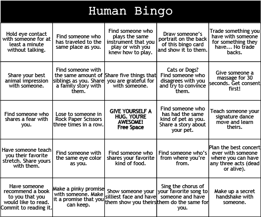 We Re Always Looking For New Ways To Talk To New People Other Than Asking What Do You Do For A Living Beca Human Bingo Ice Breaker Games Team Building Games