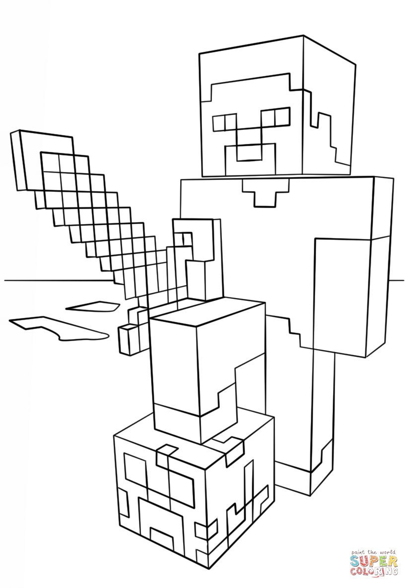 Minecraft Steve With Diamond Sword Coloring Page Free Printable Coloring Pages Minecraft Coloring Pages Minecraft Printables Minecraft Steve