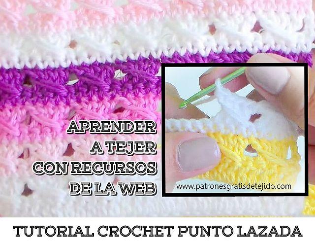 Tutorial Cómo Tejer Punto Lazada Al Crochet Curso Crochet Online Gratis Crochet Y Dos Agujas Tejidos De Punto Cómo Tejer Croché