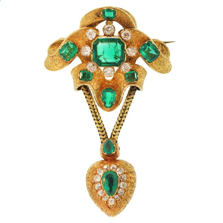 Victorian Emerald, Diamond and Gold Brooch-mid1800