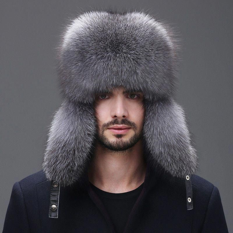 0e15bf65047 Men Winter Real Fox Fur Trapper Hat Russian Ushanka Warm Ski Outdoor Cap  Usstock  mensaccessorieshats