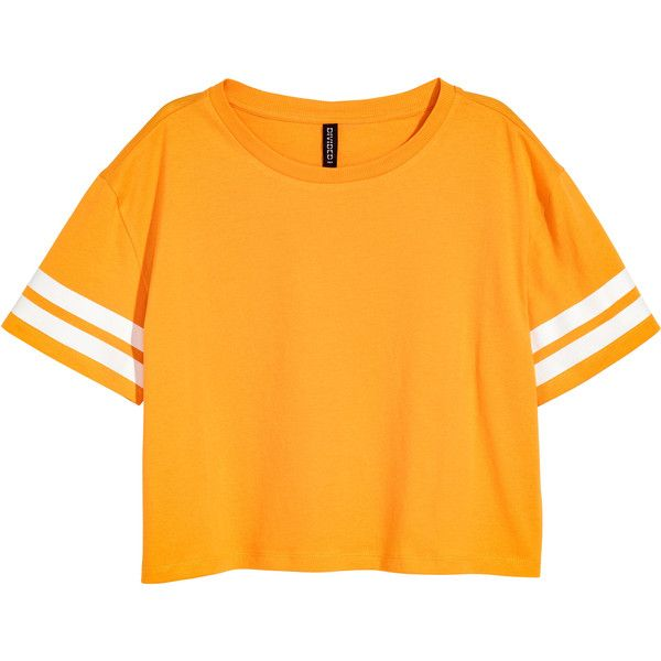 c2100cdf753 H&M Cropped T-shirt ($9.85) ❤ liked on Polyvore featuring tops, t-shirts,  print tees, yellow t shirt, crop tops, pattern t shirt and h&m tees