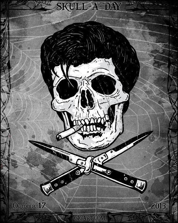 #Greaser #Skull 17 of 31 for Skull-A-Day series by GIGART. See them all at www.gigart.com