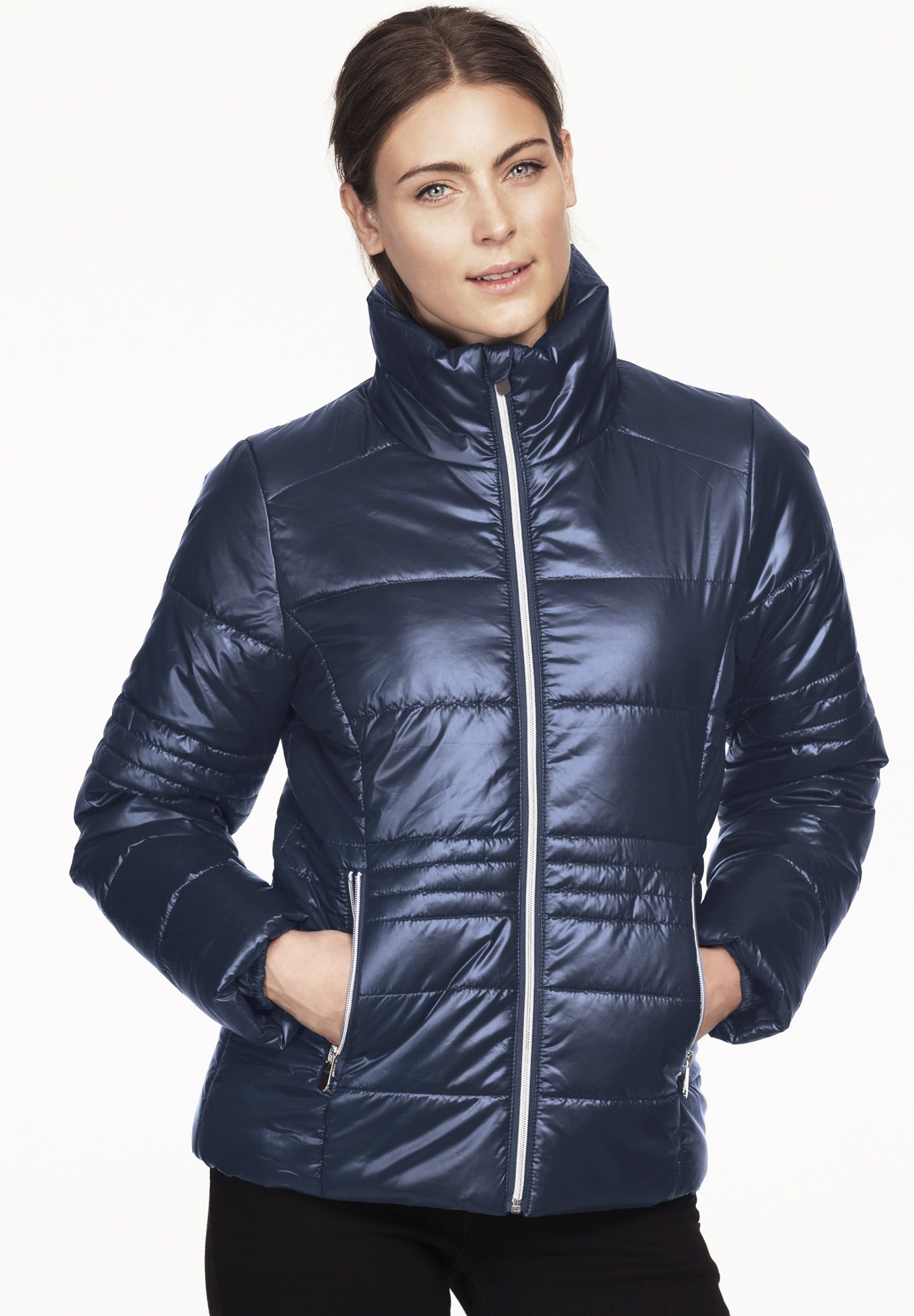247cb785415 Short Puffer Zip Front Jacket by ellos - Women s Plus Size Clothing ...