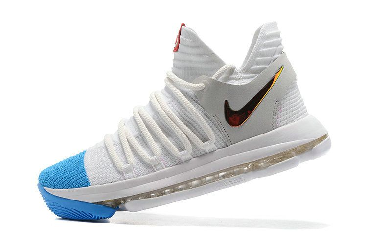 86cc2f32338f Really Cheap Kevin Durant New Nike Shoes KD 10 X White Grey Blue Lagoon  Gold Swoosh