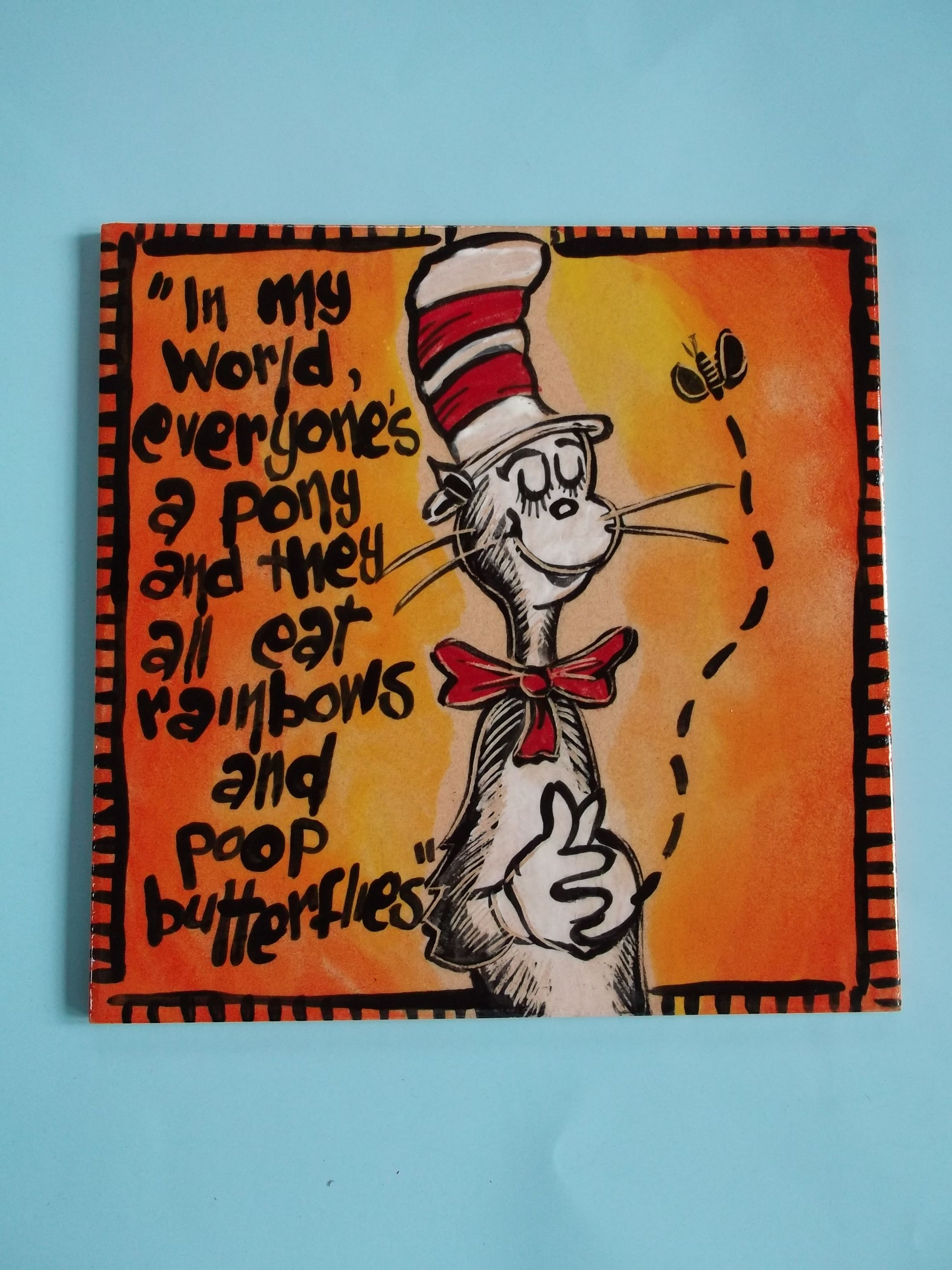 Hand painted ceramic tile dr zeus by craft at fourways one of a hand painted ceramic tile dr zeus by craft at fourways one of a kind dailygadgetfo Image collections