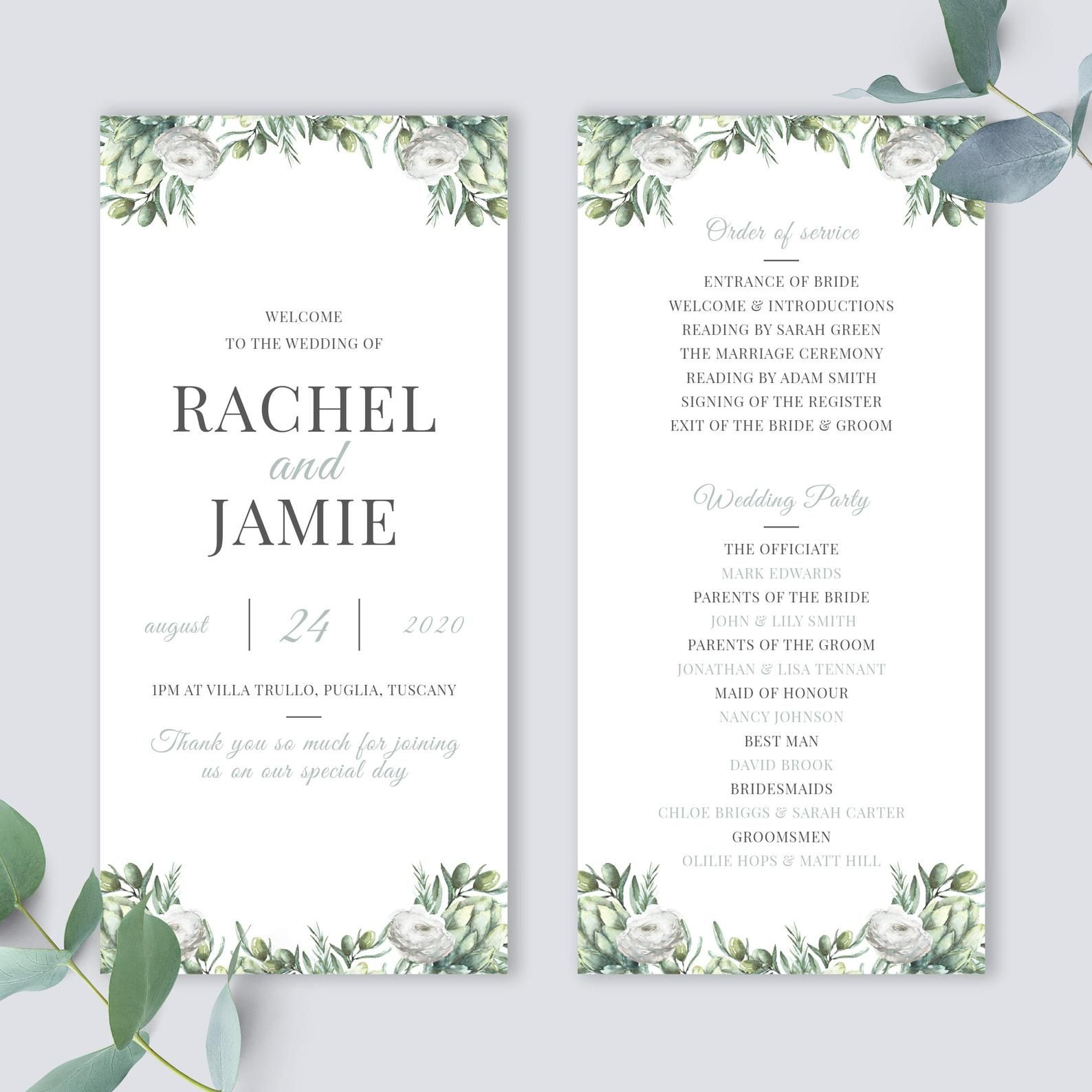 Wedding Program Template Order Of Service Wedding Order Of Etsy In 2021 Wedding Programs Template Wedding Ceremony Programs Wedding Programs
