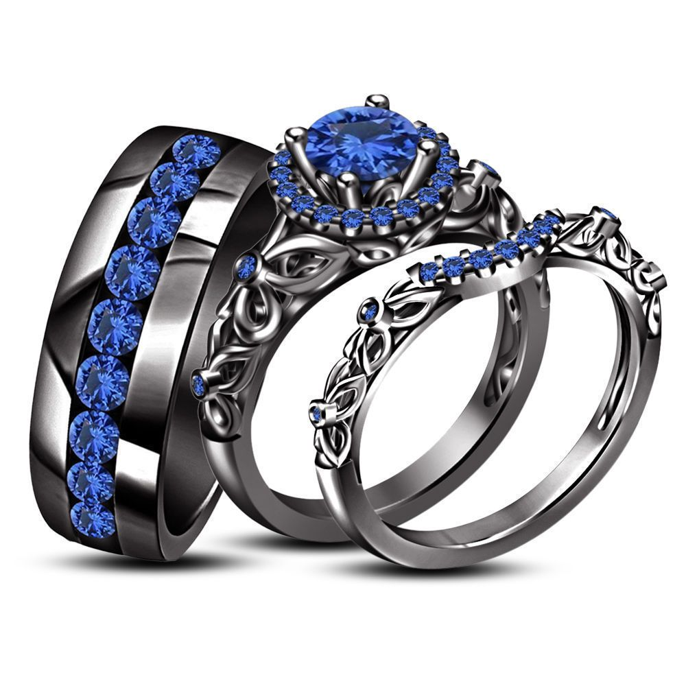 14k black gold fn 925 silver 2.10 ct round blue sapphire his & her