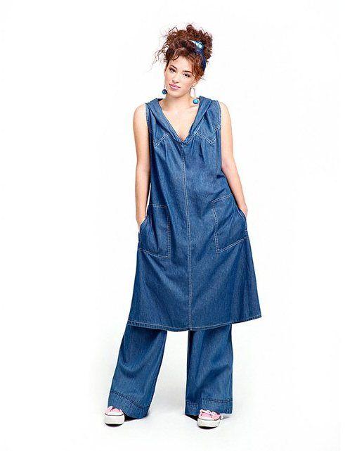 810ae115107f MAT FASHION Long Cotton Denim Dress with Hood