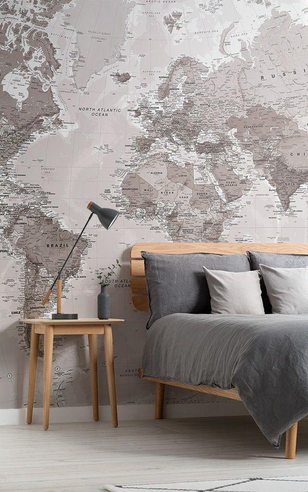 Neutral World Map Wallpaper | Stylish Map Mural | MuralsWallpaper