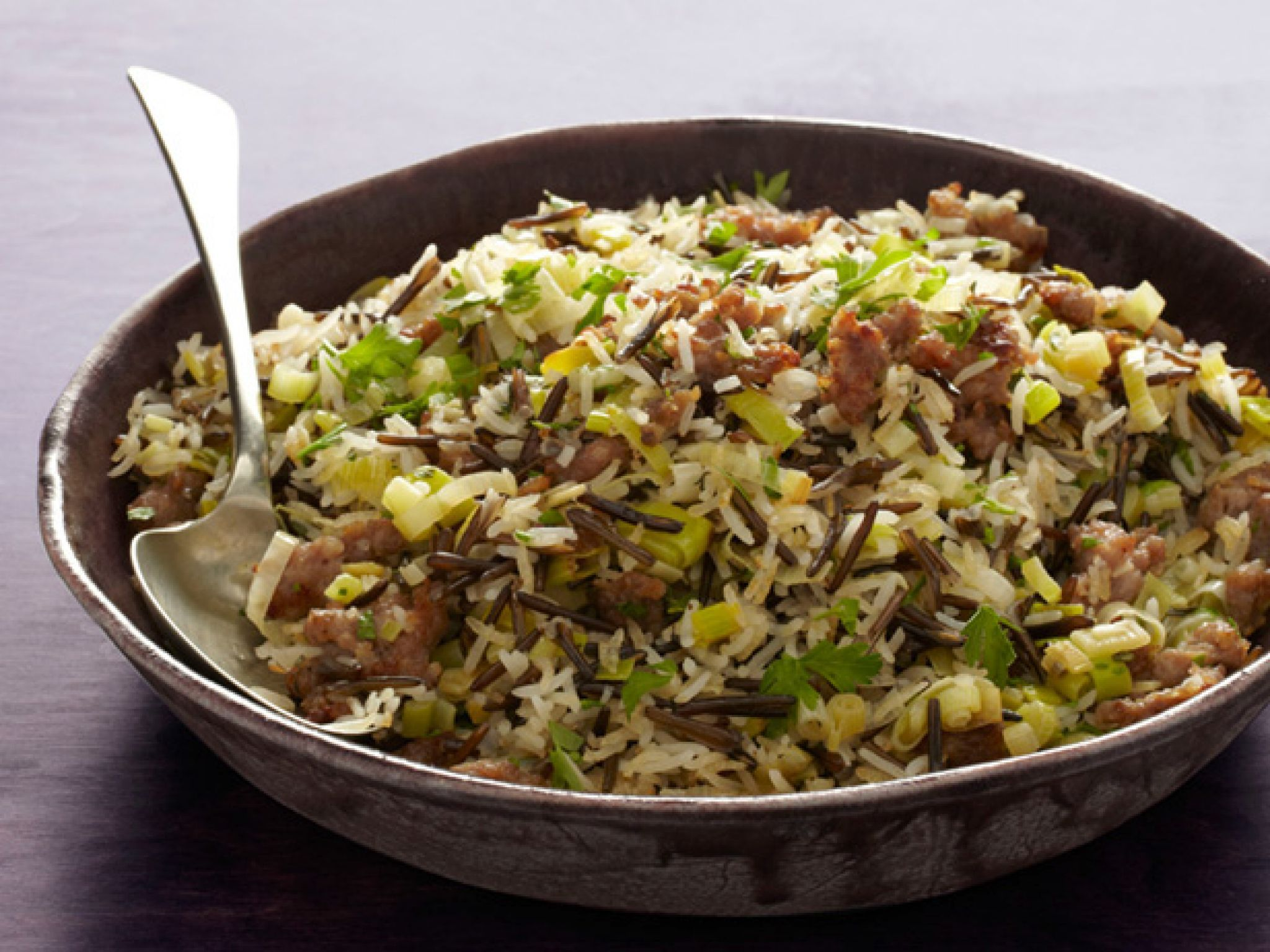 Wild Rice and Basmati Dressing with Sausage and Sage foto