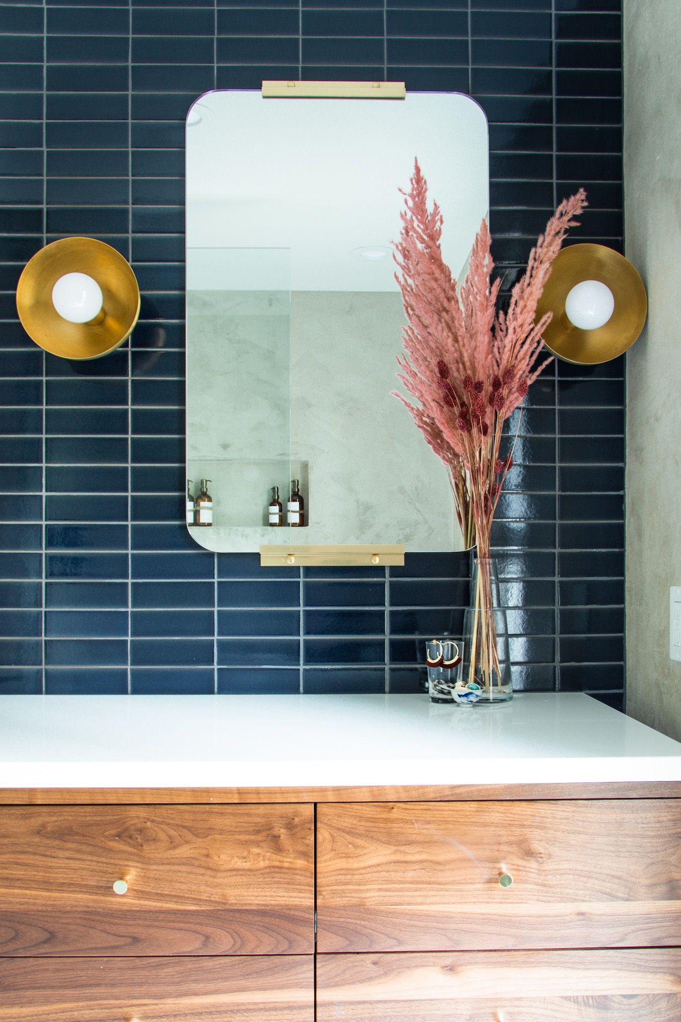 Midcentury Modern Master Bathroom Remodel White walnut bathroom remodel