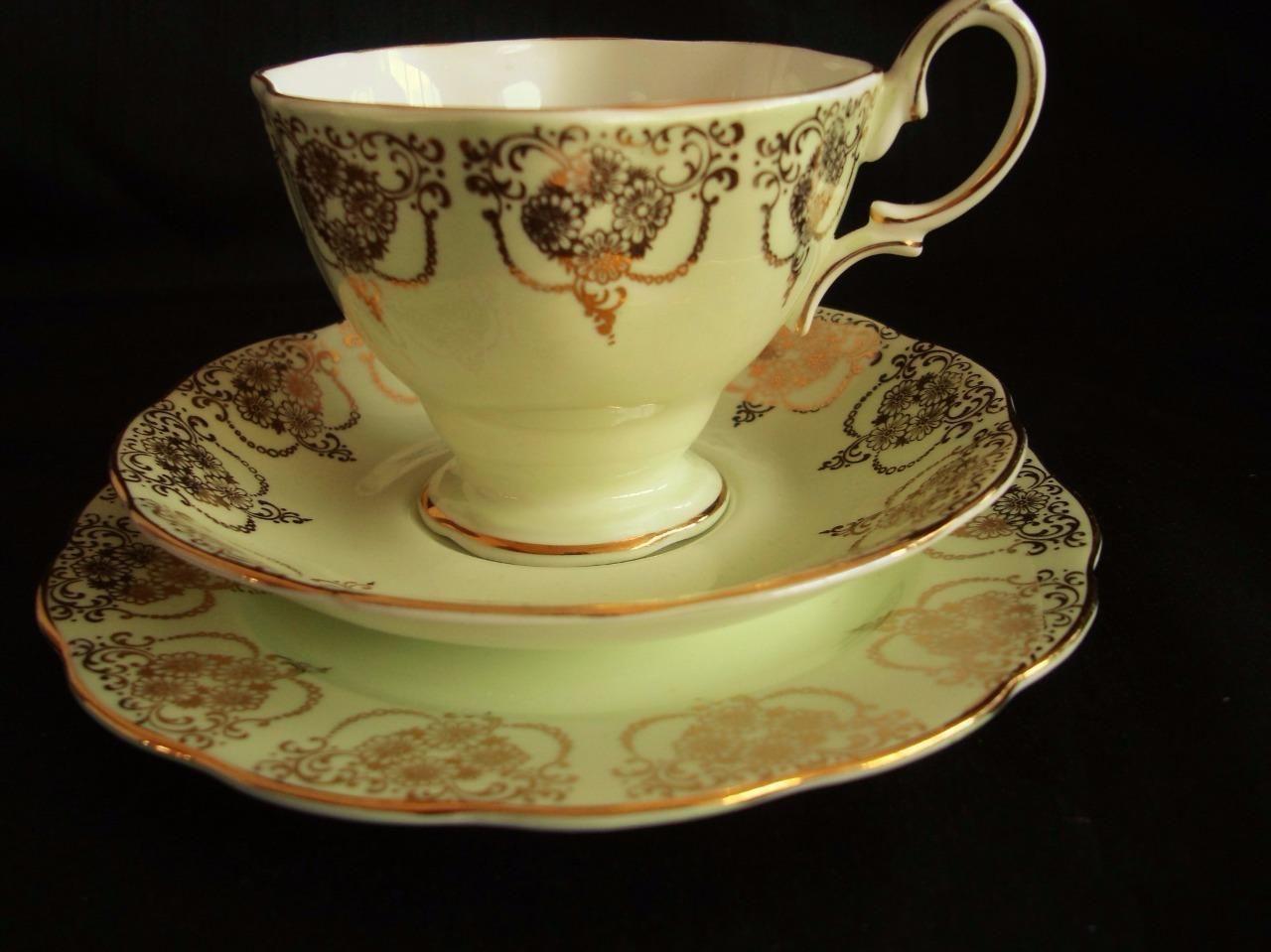 Royal albert bone china tea cup amp saucer winsome pattern ebay - Vintage 1960s Royal Albert Bone China Green Gold Lace Trio Cup Saucer Plate