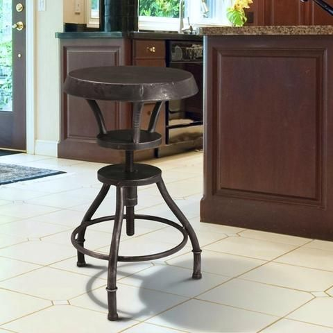 dempsey padded brown leather iron swivel bar stool bar stool