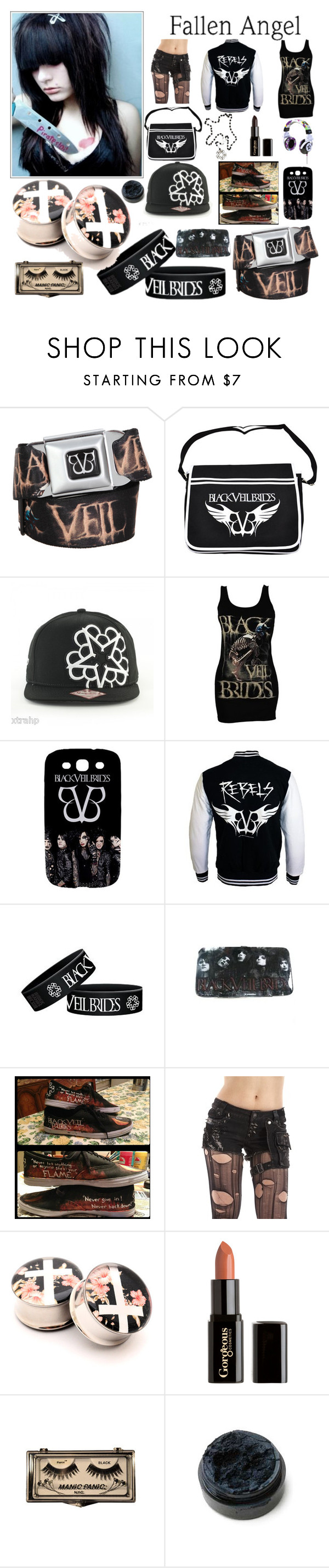 """""""Fallen Angel"""" by nekoprincess ❤ liked on Polyvore featuring Samsung, Gorgeous Cosmetics, Hёlls Bёlls, bvb, emo and scene"""