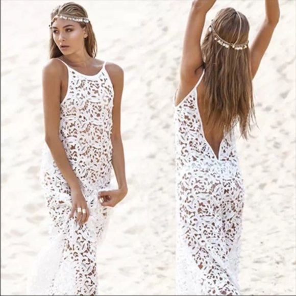 550c2104f829a White thick lace swim beach pool cover up maxi Hits about ankle. Very sexy.  Size small. Thick quality lace cut material. None Dresses