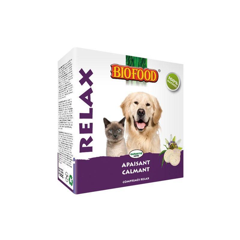 BIOFOOD Relax comprimés à base de plantes fraîches et de levure de bière pour un effet calmant et apaisant en cas de feux d'artifice, tonnerre et stress. Avec des acides aminés, des vitamines (A, B, D et E), des minéraux, de valériane, de passiflore et un mélange d'herbes spécialement développé (anti-stress) qui influence positivement le métabolisme de la sérotonine Biofood relax procure un effet calmant et apaisant. Pour toutes les races de chiens et de chats. Caractéristiques : Effet calmant e