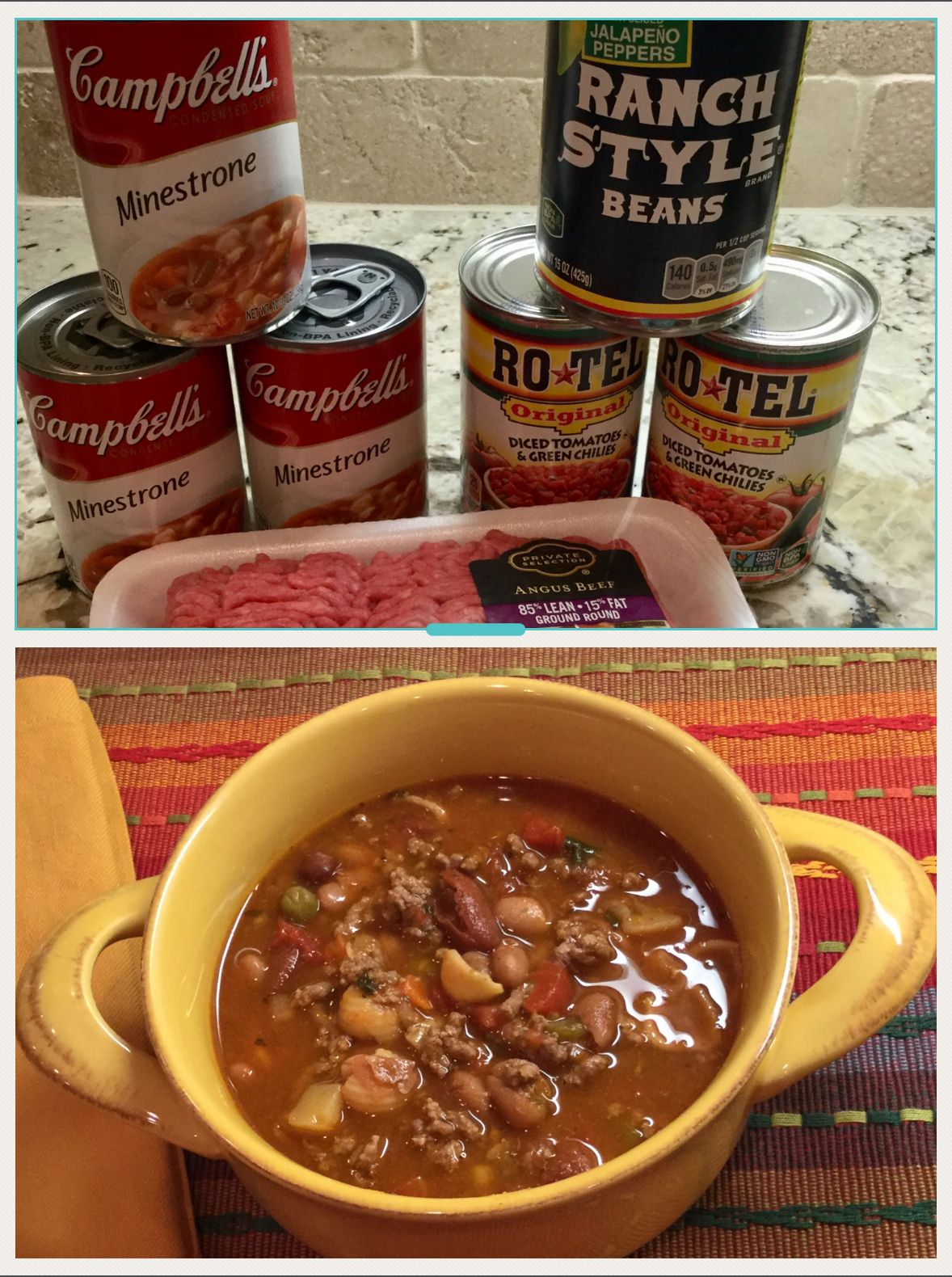 Cowboy Soup 1lb Ground Round 3 Cans Minestrone Soup 2 Cans Rotel 1can Ranch Style Beans 30 Oz Water Brown Beef Soup Recipes Delicious Soup Minestrone Soup