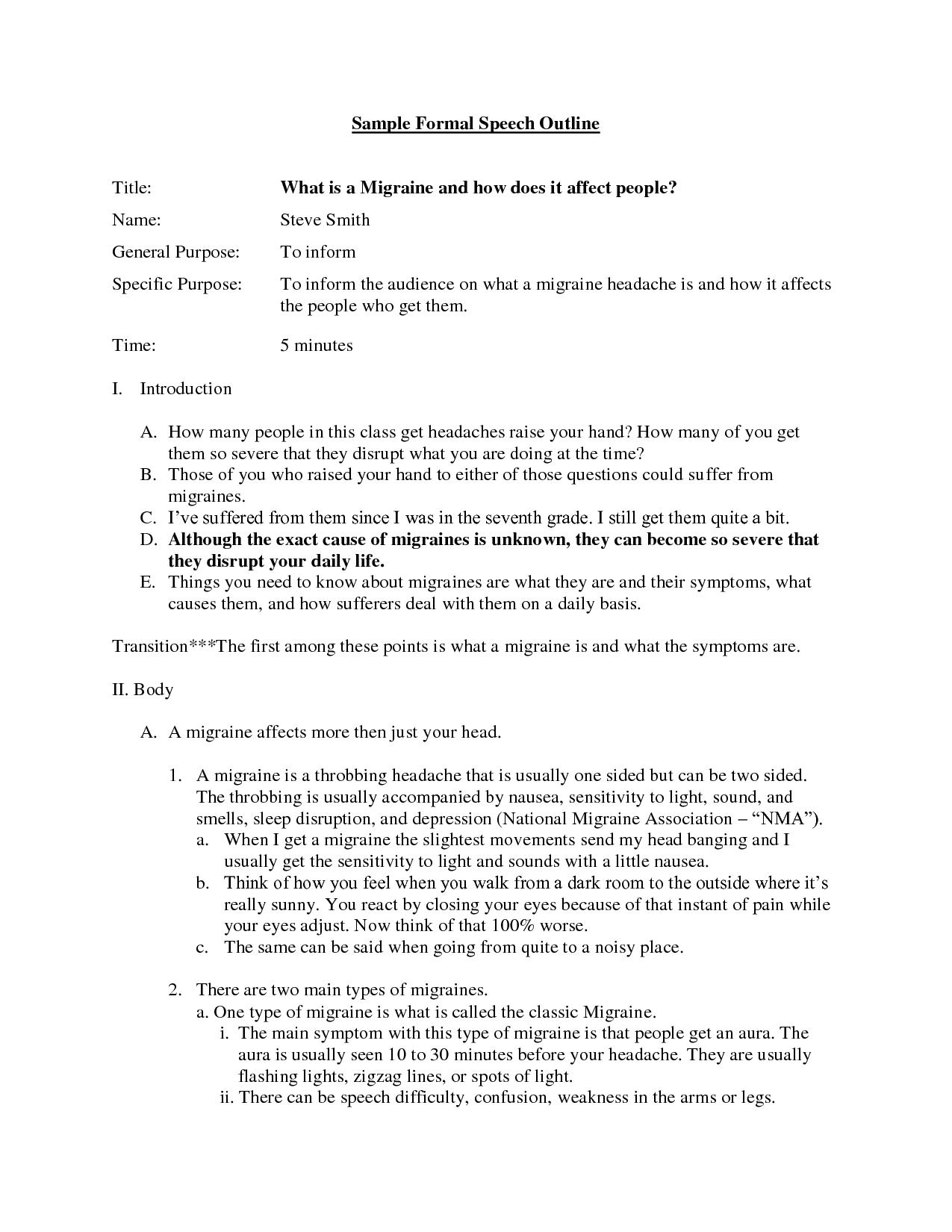 How to do an outline Team Presentation Final – Speech Outline Example