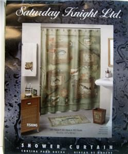 Fishing Shower Curtain With Bonus Hooks