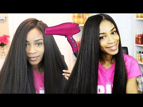 How To Blow Dry Crochet Braid Wigs Straight Kanekalon Hair