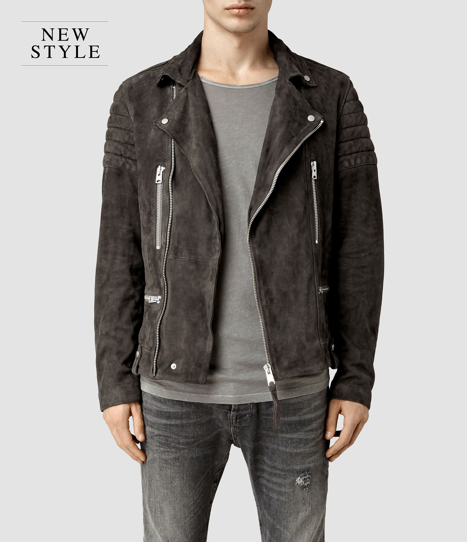4e662a727c69 Mens Circuit Suede Biker Jacket (Slate Grey)