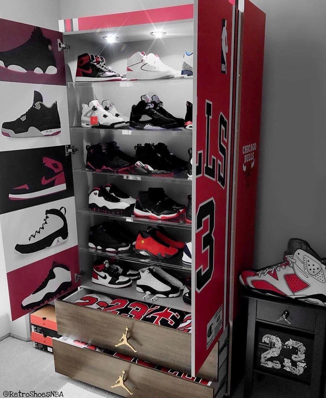 9dce4e368 Custom Jordan sneaker closet.