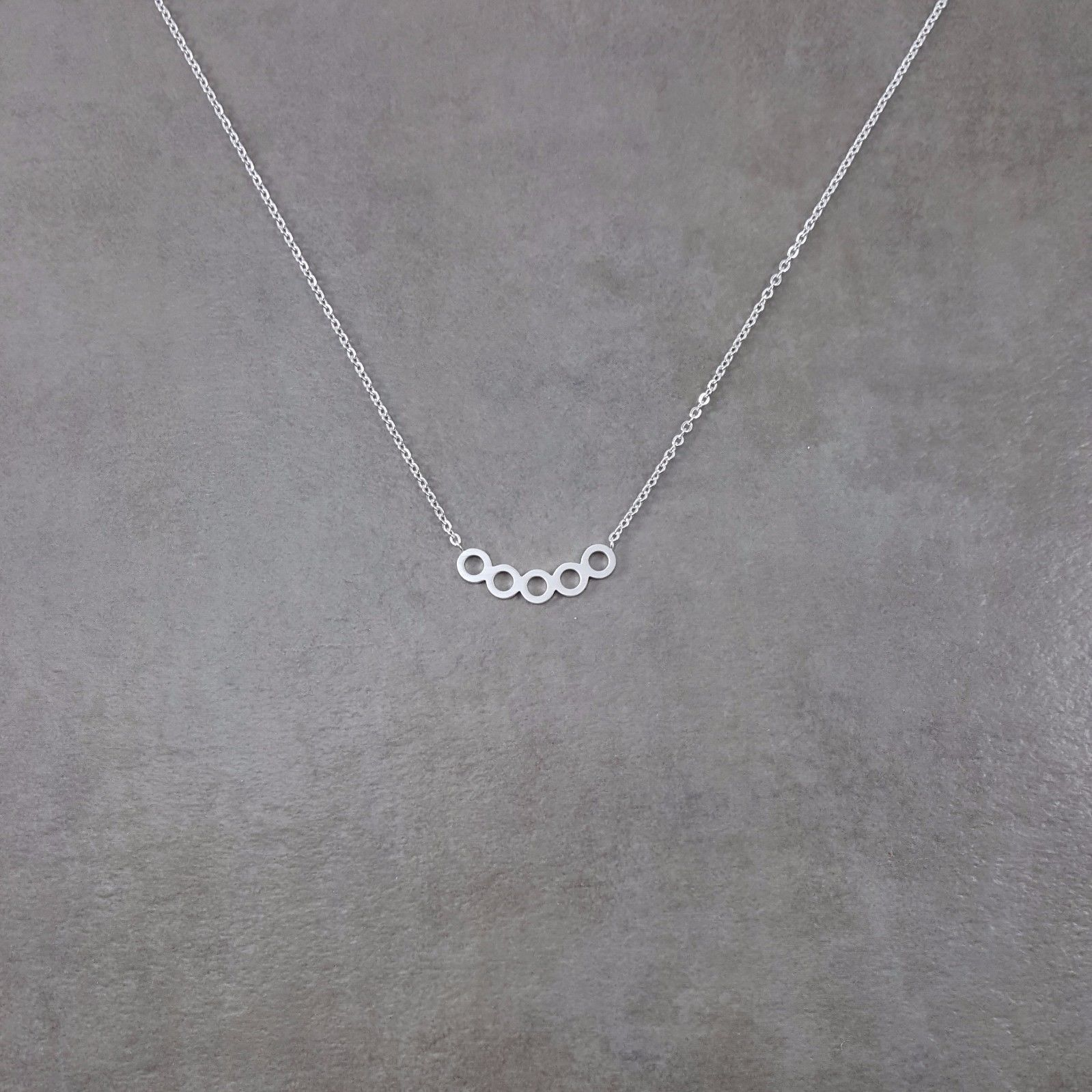 Five Circles in Line Silver Necklace Gift Box Karma Trendy Fashion Beautiful | eBay