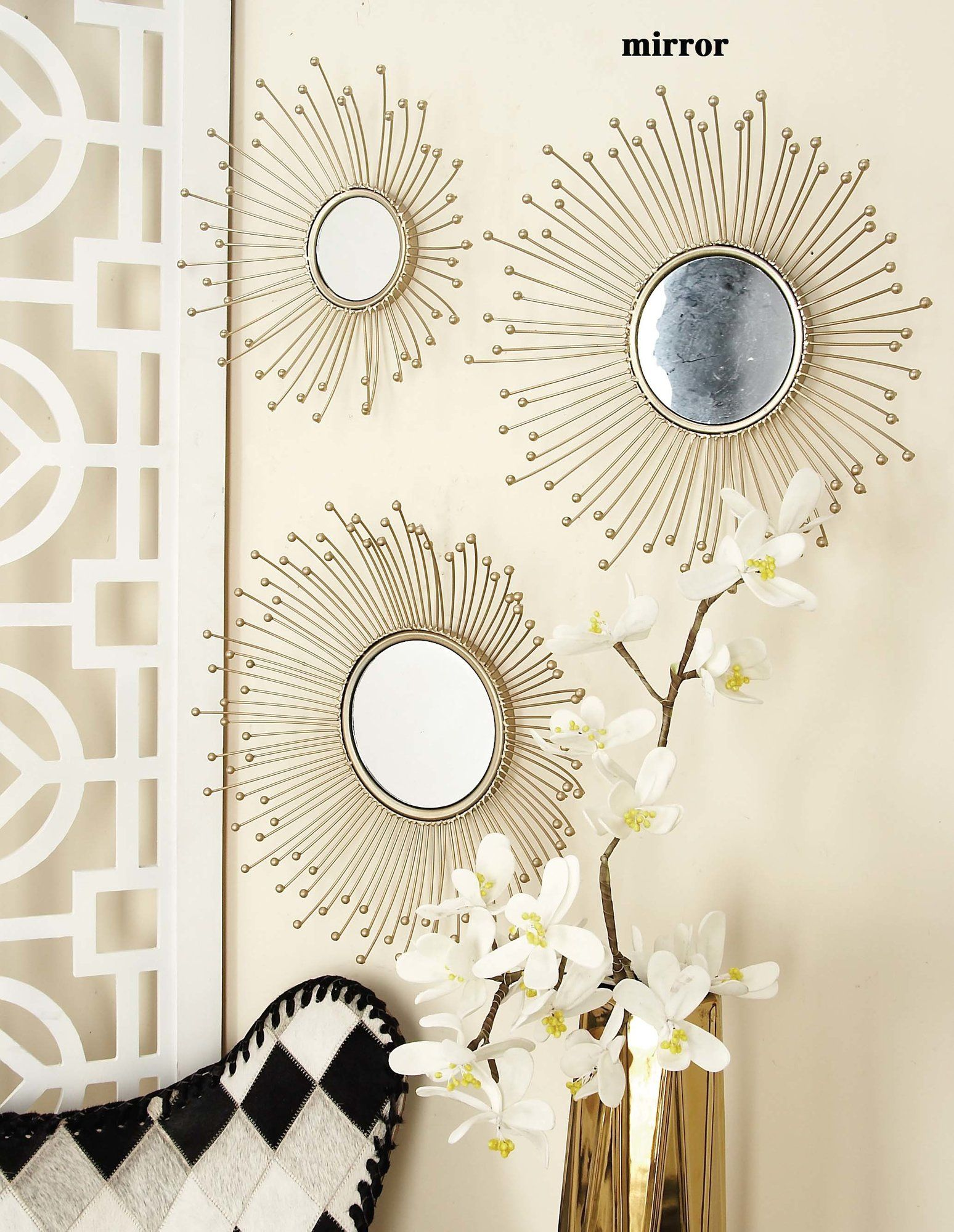 3 Piece Wall Mirror Set Mirrors Wall Mirrors Set Mirror Round