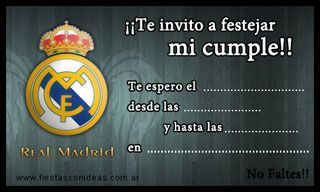 Real Madrid Fc Tarjetas De Cumpleanos Para Imprimir Tarjetas