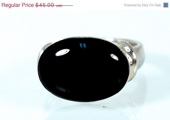 SALE Chunky Black Onyx Ring Serling Silver Size by WarrenExchange
