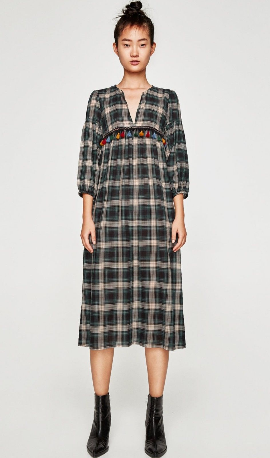 adcff935 Zara Woman Long Check Dress Size L in 2018 | Looks | Pinterest ...