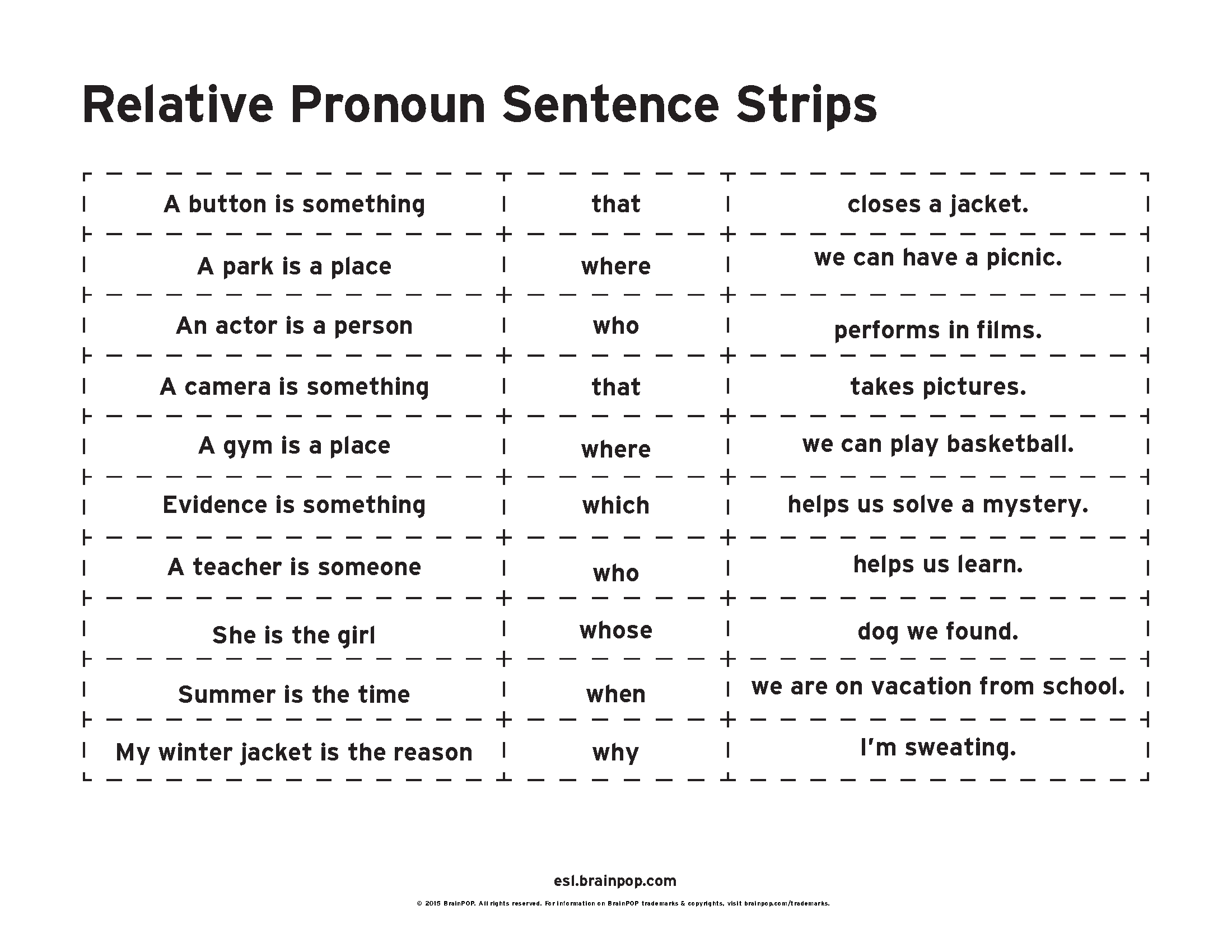 Relative Pronouns Sentence Strips With Images