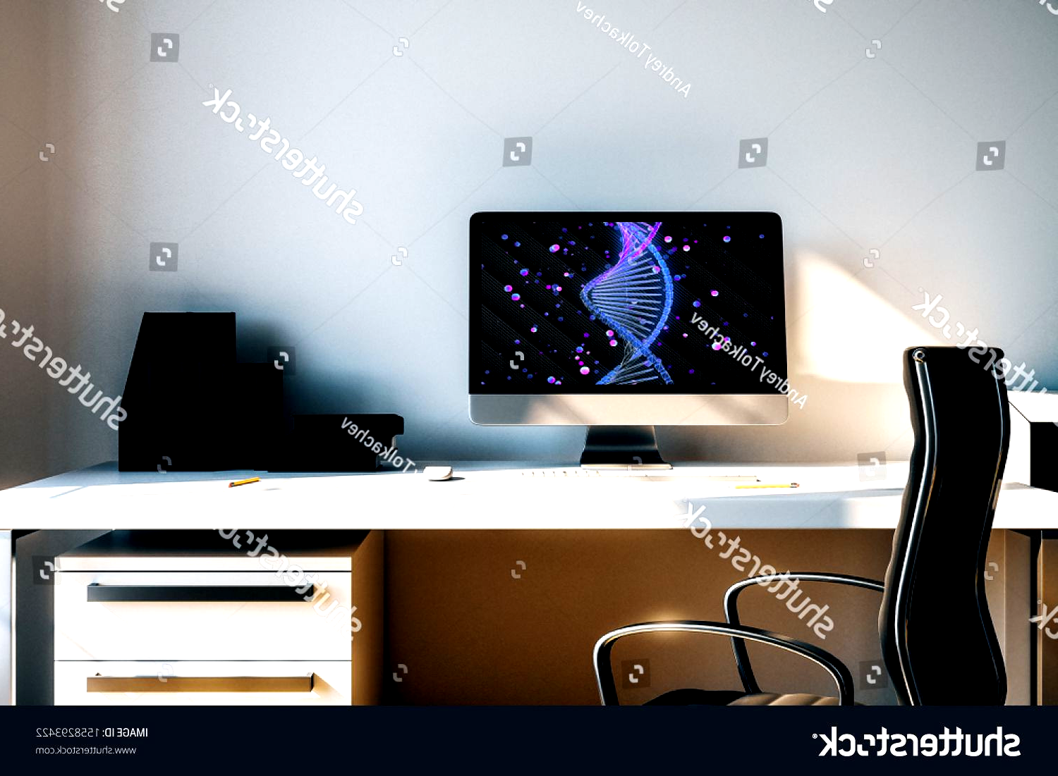 Desktop Interior With Dna Drawing On Computer Screen Table And Chair Concept Of Education 3d Rendering Ad Spon In 2020 Computer Drawing Dna Drawing Interior