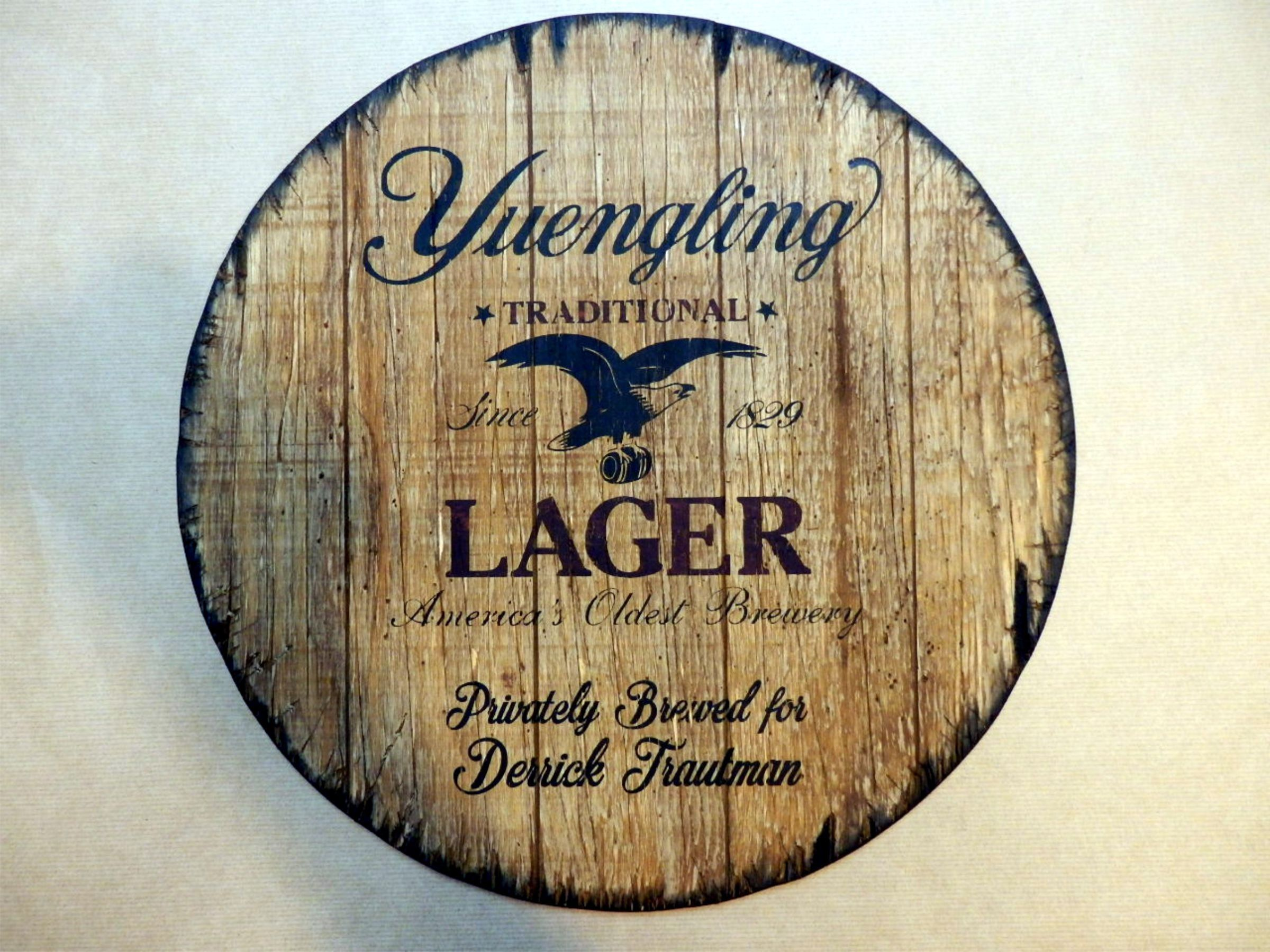 Yuengling Lager Personalized decorative Sign - barrel top
