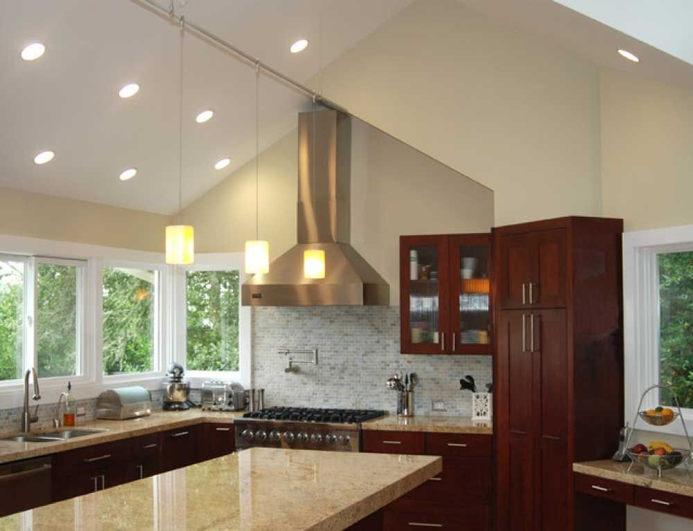 Downlights for Vaulted Ceilings with stunning cathedral ceiling kitchen  lighting