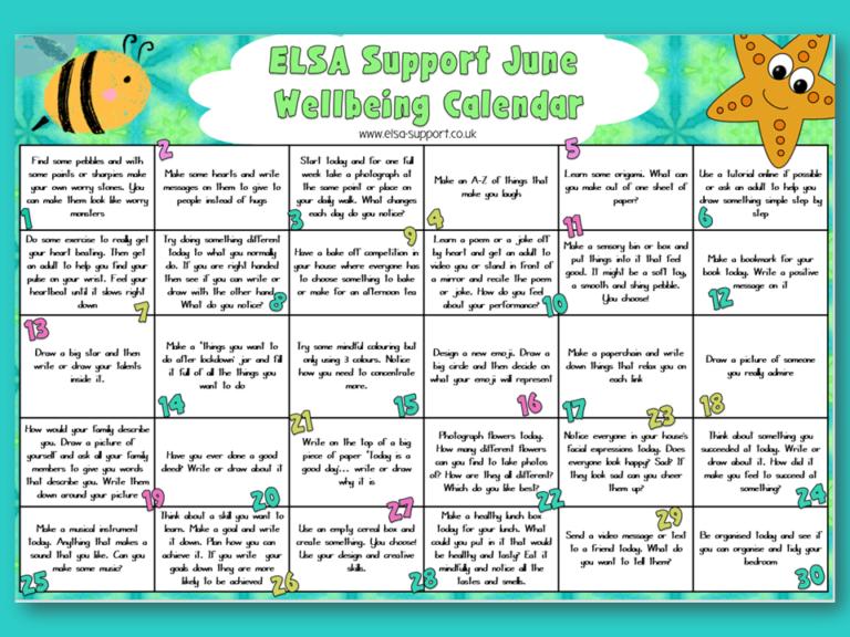 Wellbeing Calendar for June ELSA Support for emotional