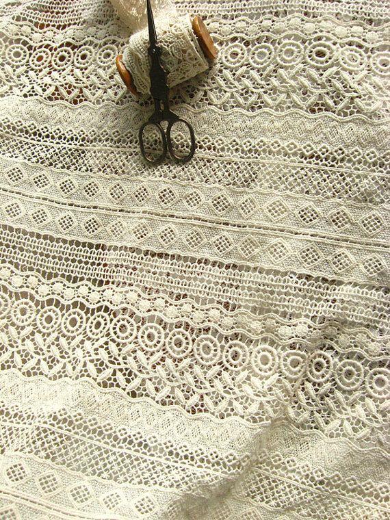 ivory cotton lace fabric natural cotton crochet by WeddingbySophie