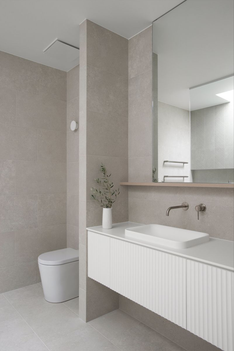 Photo of Contemporary Bathroom Design | Coastal Ensuite with light grey tiles and panelled cabinetry