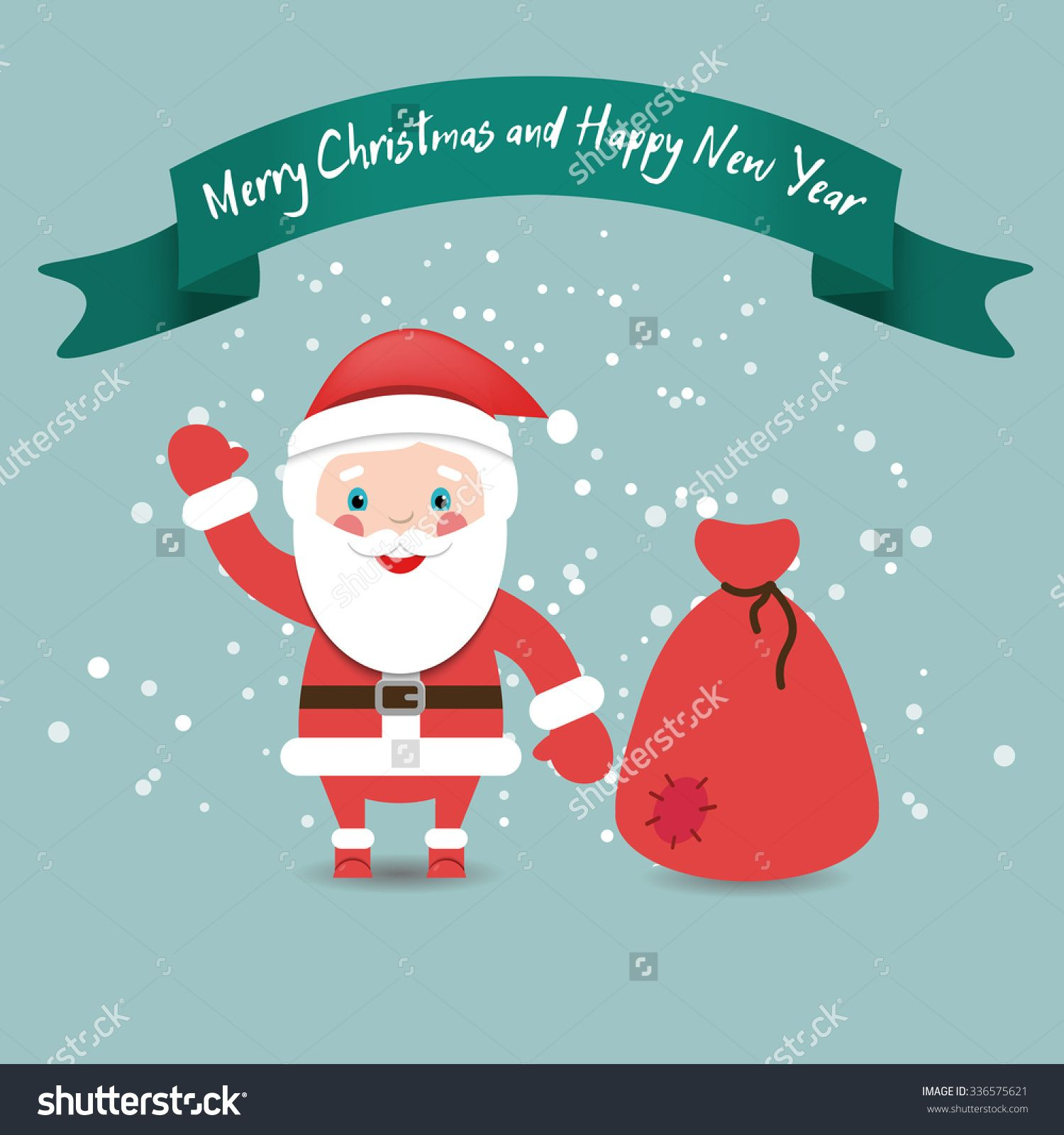 Funny Santa Claus with bag in red suit under snow, Christmas and New Year card.